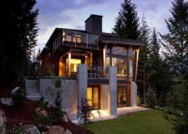 exterior: Wonderful Glass Window And Simple Staircase Plus Bright Lighting  Right For Cool Modern House