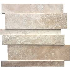 avenzo beige linear mosaic travertine dimensional wall tile actual 24 in x 6 in