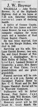 John Wesley Brewer obit part 1 - Newspapers.com