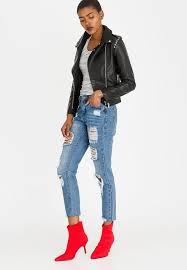style republic studded leather look biker jacket black