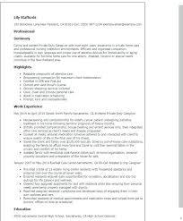 Sample Resume Caregiver Private Duty Caregiver Resume Sample Resume
