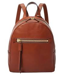 fossil brown leather backpack purse