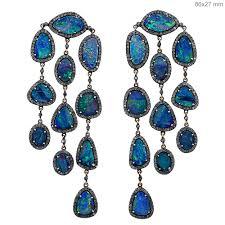 diamond opal gemstone chandelier earrings
