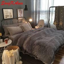 european royal mink velvet bedding sets super warm solf winter crystal velvet duvet cover bedclothes bed sheet queen king size in bedding sets from home