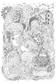 大人の塗り絵の白黒の飾り海のテーマ 老練な船乗り人魚エキゾチックな生き物船魚海の波
