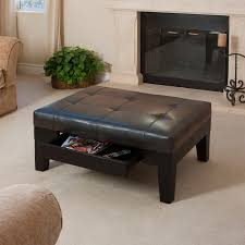 wonderful brown leather top storage ottoman black painted wood coffee table legs metal chrome candle holder white surround fireplace mantel living room