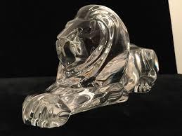 5 of 11 rare signed steuben art glass lion sculpture figurine on wood base lloyd atkins