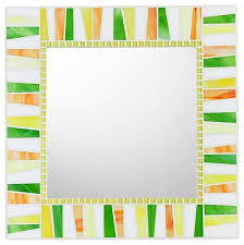 citrus stained glass mosaic mirror handmade