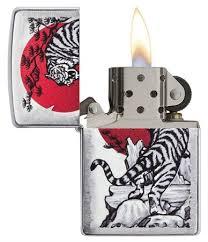 <b>Зажигалка</b> Zippo Asian <b>Tiger</b> с покрытием Brushed Chrome, 29889 ...