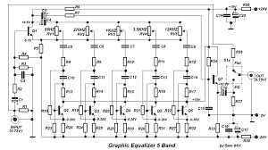 audio amplifier circuits five band graphic equalizer circuit