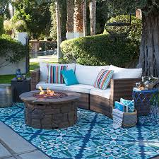 blue outdoor rug with fire pit conversation set