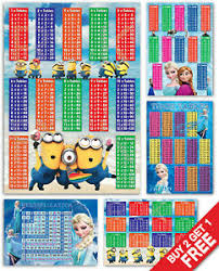 Details About Marvel Lego Minions Frozen Maths Times Tables Multiply Kids Bedroom Wall Chart