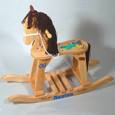trail blazin natural wood personalized rocking horse hand painted in choice of boy or