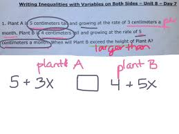writing inequalities with variables on both sides 1