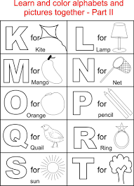 Small Picture Alphabet Part II coloring printable page for kids Alphabets