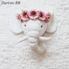 handmade white elephant plush doll toys stuffed animal head wall mounted children room hanging heads kids animal heads mounted wall