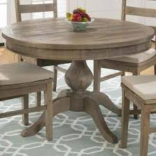 jofran slater mill pine reclaimed solid pine round to oval dining table with pedestal base