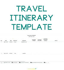 Itinerary Travel Template Travel Itinerary Document Template Trip Excel Skincense Co