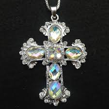 betsey johnson white glass crystal cross pendant sweater necklace