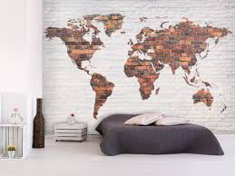 photo wallpaper world map brick wall 97570