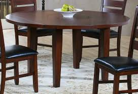 Round Wooden Drop Leaf Dining Table For Small Spaces With Black And Chairs  Plus Modern Rug ...