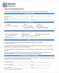 Employee Warning Form Free Employee Warning Notice Template Rome Fontanacountryinn Com