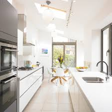 Contemporary galley eat-in kitchen idea in West Midlands with an undermount  sink, flat