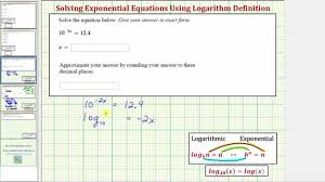 ex solve a basic exponential equation with base ten using logarithm definition you