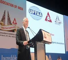 the united federation of travel agents ociations uftaa president joe borg olivier addressed the 62nd travel agents ociation of india taai
