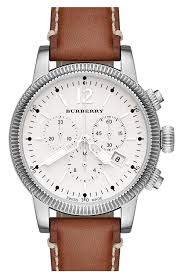 burberry round leather strap watch 42mm nordstrom