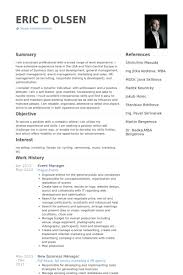 Example Of Management Skills Special Event Manager Resume Template Events Manager Cv Resume