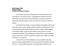 theatre of the absurd essay a level drama marked by teachers com document image preview