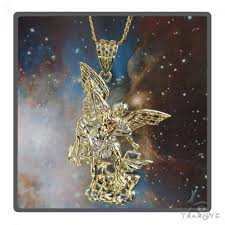 10k gold saint michael pendant set