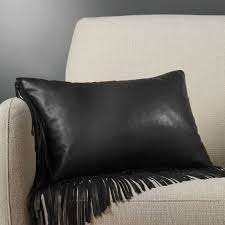 18 x12 leather fringe black pillow with down alternative insert