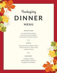 Autumn Dinner Menus Red Border Autumn Leaves Thanksgiving Menu Templates By Canva