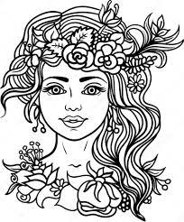 Mooie Vrouw Kleurplaat Forest Nimf Met Krans Van Bloemen Kruiden