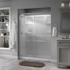 delta lyndall 60 in x 71 in semi frameless contemporary sliding shower door