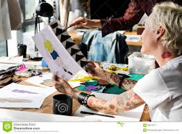 Selection Fashion Design Contest Fashion Design Materials Selection Concept Stock Image