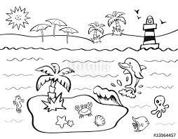 Disegno Da Colorare Per Bambini Con Tema Vacanze Al Mare Immagini E