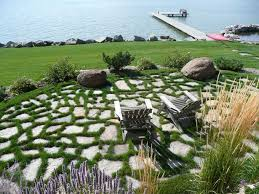 flagstone patio with grass. Natural Flagstone Patio Set In Grass With D