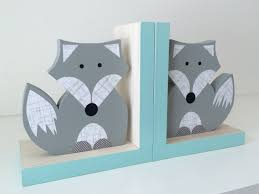 little gray fox kids bookends blue sides