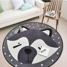 white gray fox printed children play mat round carpet cartoon animals rabbit bear nordic minimalist kids bedroom decor area rugs