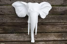 wall mount elephant head faux taxidermy wall decor