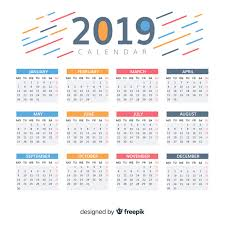 Beautiful 2019 Calendar Design Vector Free Download