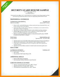 Security Guard Resume Sample Security Guard Guard Resume Sample