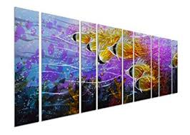 pure art colorful tropical school of fish metal wall art purple oversize metal wall decor on metal wall art decor tropical with amazon pure art colorful tropical school of fish metal wall art
