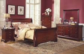 Bedroom Design: Vintage Style Cheap Queen Bedroom Sets With Fruitwood  Finish And Calming Maroon Walls