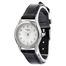 caravelle by bulova silver dial black leather las watch 47e02
