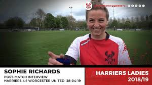 Sophie Richards post-match: Harriers 4-1 Worcester United 28/04/19 - YouTube