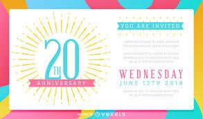 Colorful Wedding Anniversary Celebration Invitation Vector Download